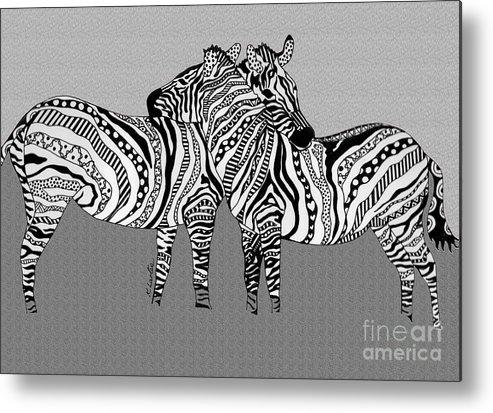 Zebra Metal Print featuring the drawing Zebra Love 12 by Karen Larter