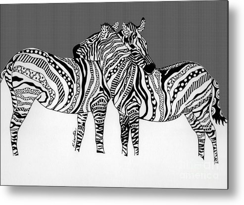 Zebra Metal Print featuring the drawing Zebra Love 14 by Karen Larter