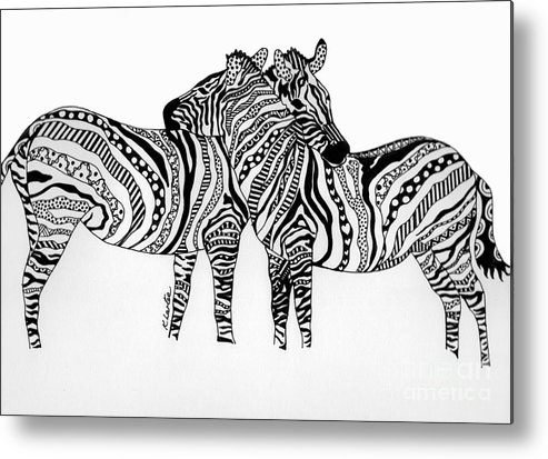 Zebra Metal Print featuring the drawing Zebra Love 2 by Karen Larter