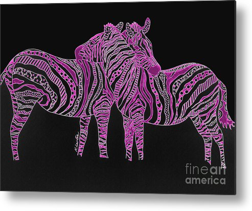 Zebra Metal Print featuring the drawing Zebra Love 7 by Karen Larter