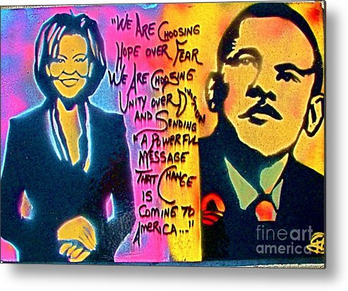 Barack Obama Metal Print featuring the painting Barack And Michelle by Tony B Conscious