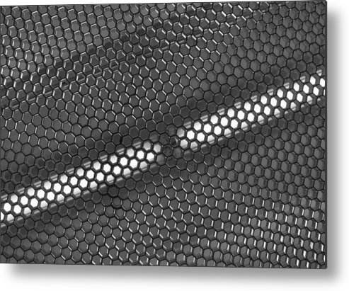 Black And White Metal Print featuring the photograph Hexagon Lights by Anna Villarreal Garbis