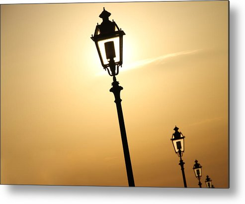 Horizontal Metal Print featuring the photograph Lamps At Sunset by Sabrina Romiti