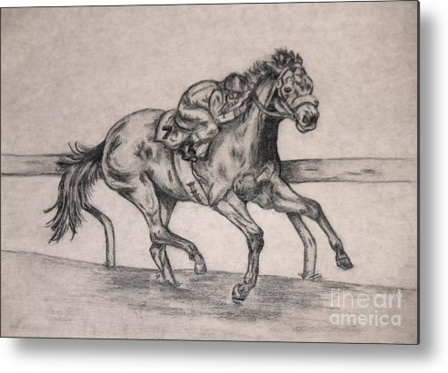 Drawing Metal Print featuring the drawing Racing To Win 1 by Sheri LaBarr