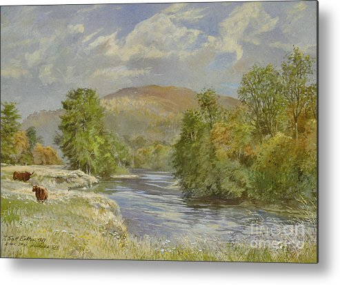 Landscape; River Scene; Highland Cattle; Meadow; Pastoral; Scottish; Hill; Hills; Tree; Trees; River Spey; Kinrara; Bull; Bulls; River; Water; Birds; Blue Sky; Sky Metal Print featuring the painting River Spey - Kinrara by Tim Scott Bolton