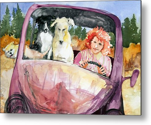 Dogs Metal Print featuring the painting Rosalie The One In The Middle by Barbara Torke