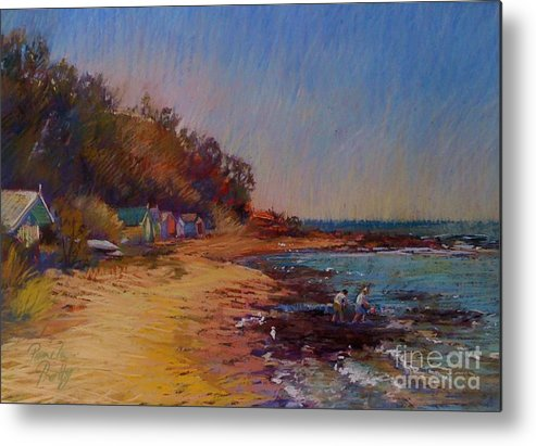 Beach Metal Print featuring the painting The Fossickers-ranelagh by Pamela Pretty