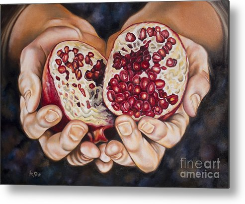 Pomegranades Metal Print featuring the painting The Fruit Of Jesus' Sacrifice II by Ilse Kleyn