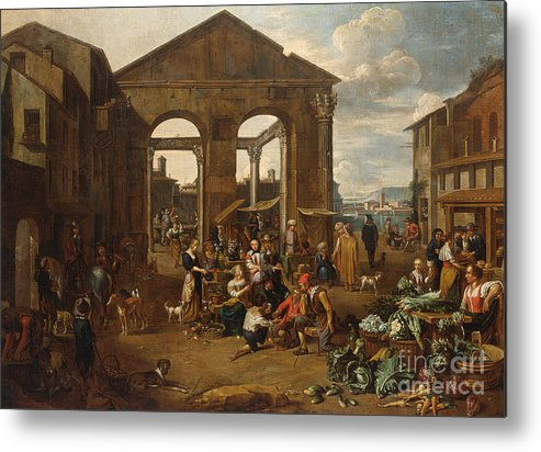 Jan Van Buken - An Italianate Market Scene With Remnants Of A Roman Temple With A Harbour Beyond Metal Print featuring the painting An Italianate Market Scene by Celestial Images