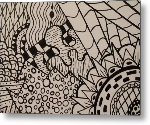 Abstract Metal Print featuring the drawing Aceo Zentangle Abstract Design by Jill Christensen