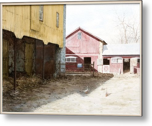 Barn Metal Print featuring the painting Barn Yard by Steven J White PWS