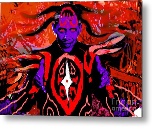 Obama Metal Print featuring the digital art Dark Obamatar by Andrew Kaupe