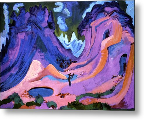 Country Metal Print featuring the painting The Amselfluh by Ernst Ludwig Kirchner