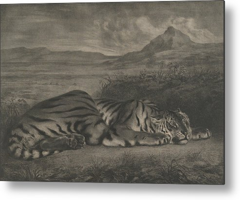 19th Century Art Metal Print featuring the relief Royal Tiger by Eugene Delacroix