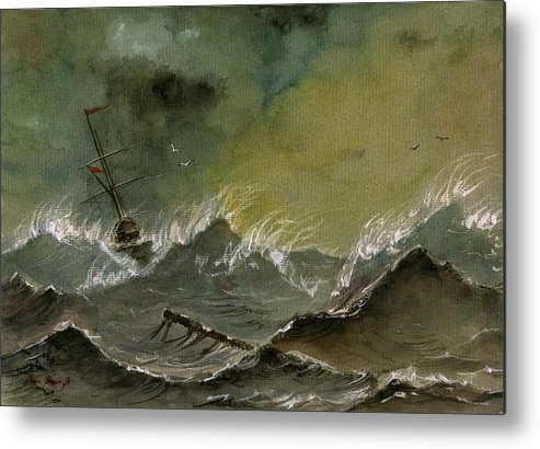 Sail Ship Watercolor Metal Print featuring the painting Sail Ship Watercolor 2 by Juan Bosco