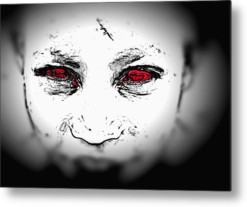 Eyes Face Looks Black And White Red Metal Print featuring the digital art Untitled by Veronica Jackson