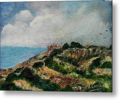 Metal Print featuring the painting A Maltese Country Landscape by Anthony Camilleri