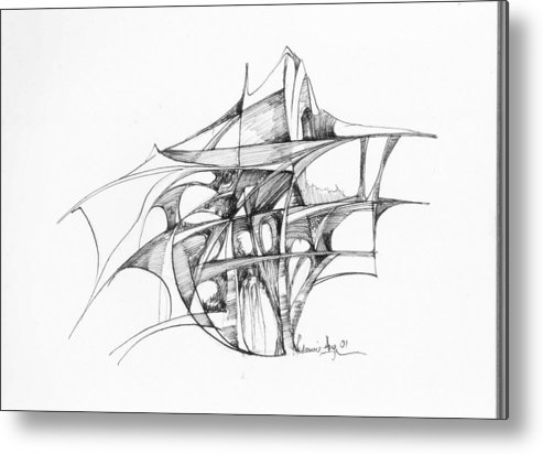 Abstract Metal Print featuring the drawing Abstract 1 by Padamvir Singh