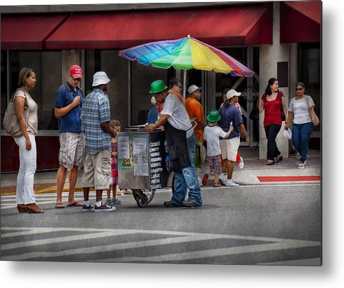 Hdr Metal Print featuring the photograph Americana - Mountainside Nj - Buying Ices by Mike Savad