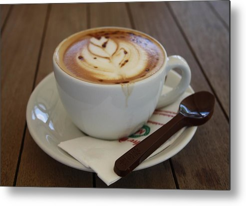 Caff Americano Metal Print featuring the photograph Americano Coffee With Tulip Design by Taiche Acrylic Art