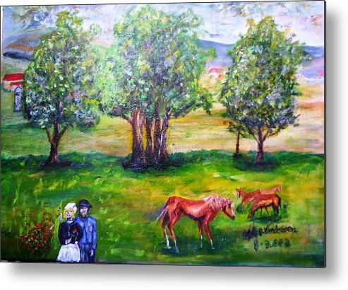 Landscape Horses Lovers Metal Print featuring the painting Amish Courtship At Berlin Ohio by Alfred P Verhoeven