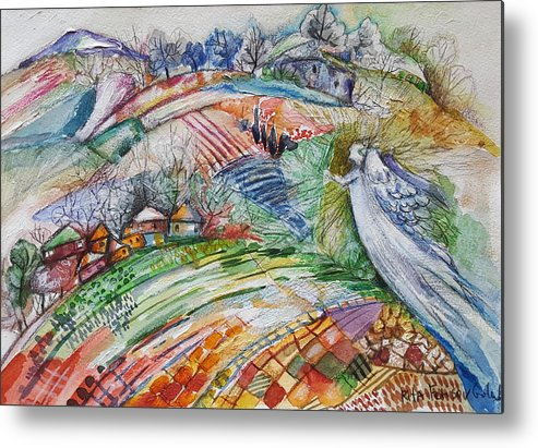Illustration Metal Print featuring the painting Angel From Jacob's Ladder by Rita Fetisov