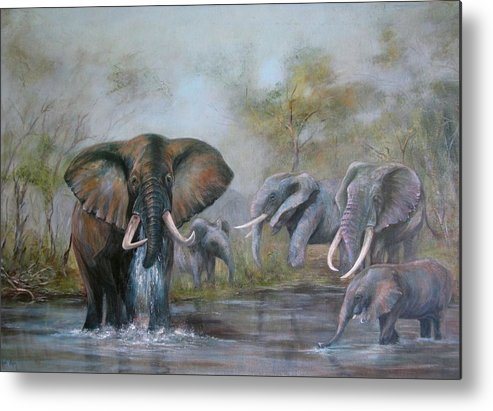 Wildlife Metal Print featuring the painting At The Waterhole by Rita Palm