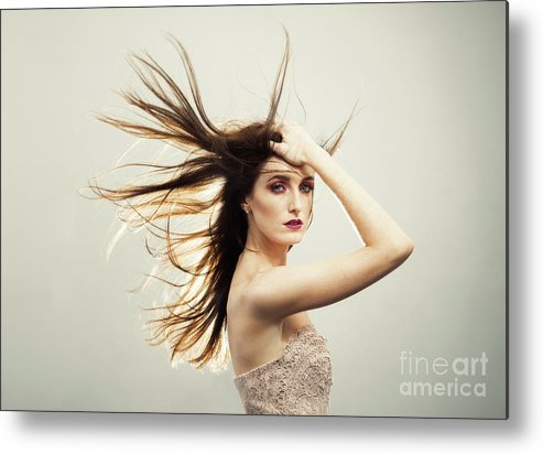 Make Up Metal Print featuring the photograph Beautiful Young Woman With Windswept Hair by Amanda Elwell