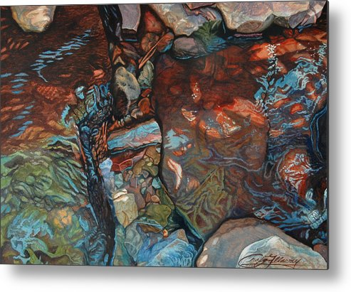 Rocks Metal Print featuring the painting Blue Current by Craig Gallaway