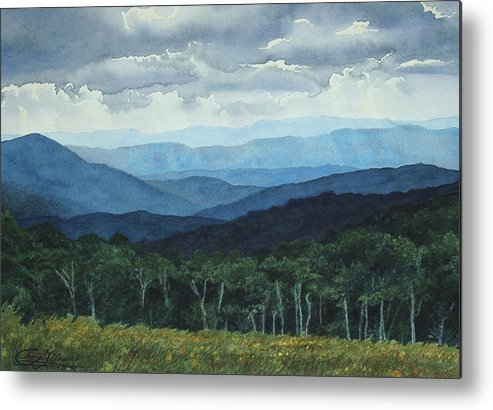 Blue Ridge Mountains Metal Print featuring the painting Blue Ridge From Grassy Bald Study by Craig Gallaway