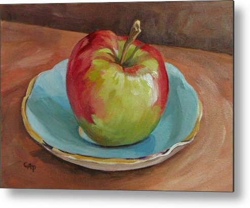 Still Life Metal Print featuring the painting Blue Saucer With Apple by Cheryl Pass