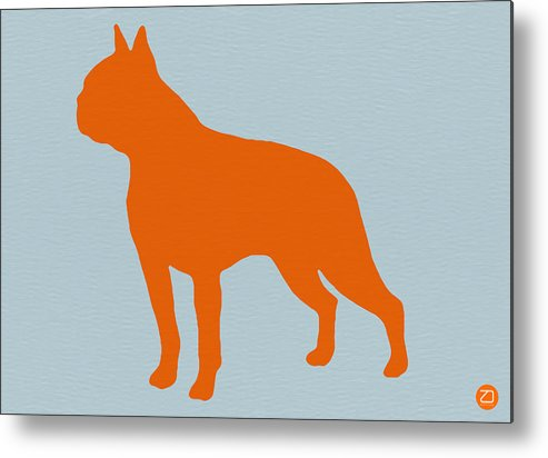Boston Terrier Metal Print featuring the digital art Boston Terrier Orange by Naxart Studio