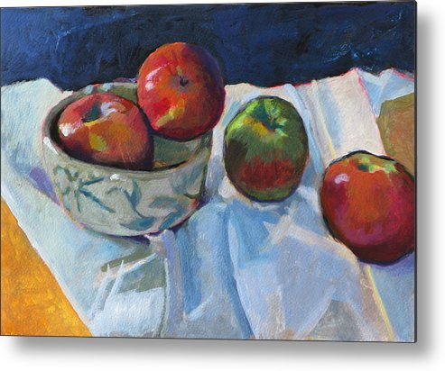 Apple Metal Print featuring the painting Bowl Of Apples by Robert Bissett