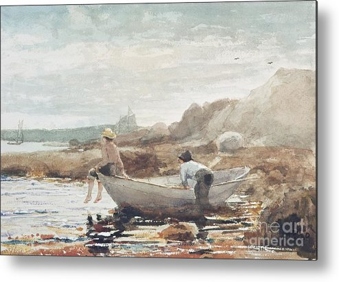 Boys On The Beach (w/c On Paper) By Winslow Homer (1836-1910) Rowing Boat; Fishing; Boy; Male; Children; Child; Playing; Summer; Coast; Coastal; Rocks; Rocky; Boat Metal Print featuring the painting Boys On The Beach by Winslow Homer