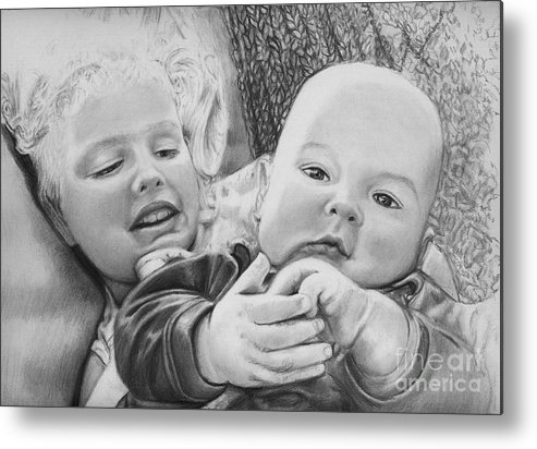 Babies Metal Print featuring the drawing Brynn And Austin by Carliss Mora