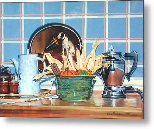 Still Life Metal Print featuring the painting Buffet Still Life by Anne Rhodes