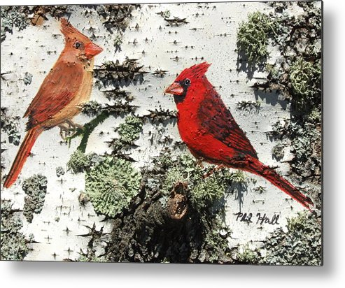 Cardinals Metal Print featuring the painting Cardinal Pair II by Philip Hall