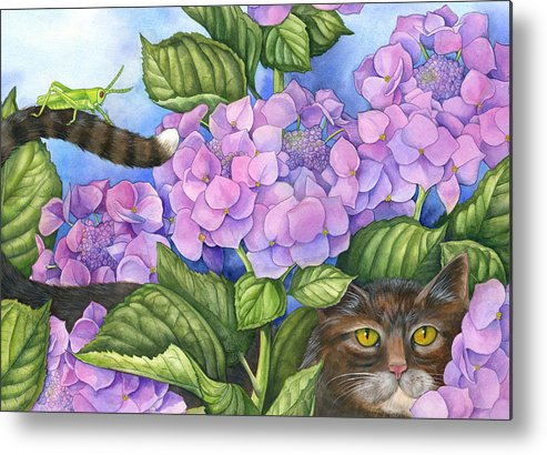 Cats Metal Print featuring the painting Cat In The Garden by Mindy Lighthipe