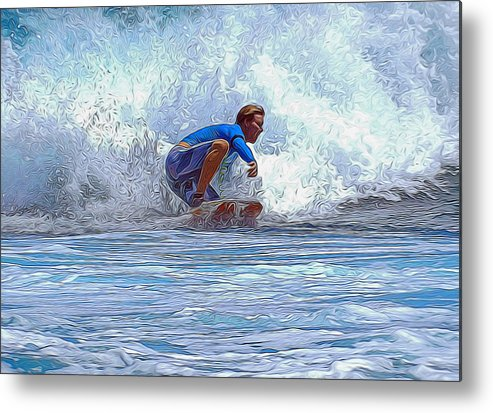 Surfing Metal Print featuring the mixed media Catching The Wave by Pamela Walton