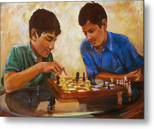 Chess Metal Print featuring the painting Check by Art Nomad Sandra Hansen