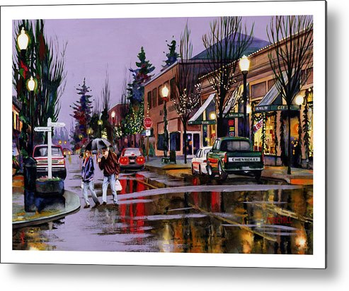 Christmas Lights Rain Holiday Eve Shopping Reflections Decorations Metal Print featuring the painting Christmas On Main Street by Mike Hill