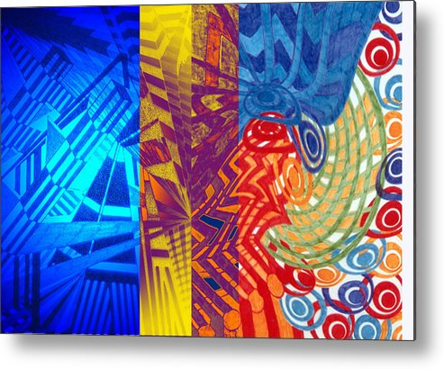 Abstract Metal Print featuring the drawing Colorful Light by B and C Art Shop