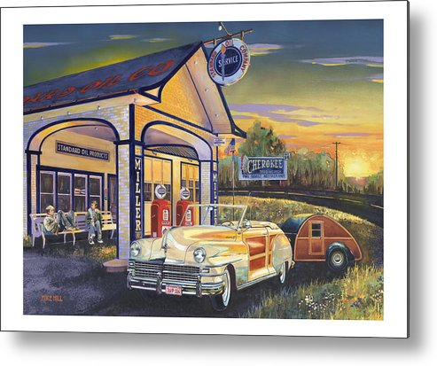 1948 Chrysler Woody Route 66 Tear Drop Trailer Teardrop Sunset Cherokee Standard Station Convertable Metal Print featuring the painting Come Get Your Kicks by Mike Hill