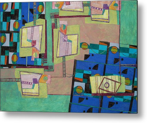 Abstract Art Metal Print featuring the painting Composition Xxii 07 by Maria Parmo