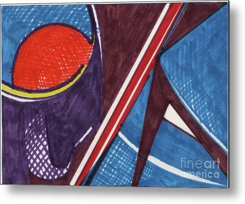 Still Life Metal Print featuring the drawing Cup Table Chair 04 by Attila Jacob Ferenczi