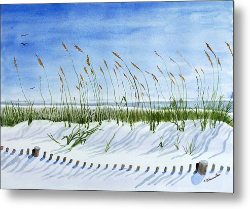 Beach Metal Print featuring the painting Drift Fence Almost Covered by Robert Thomaston