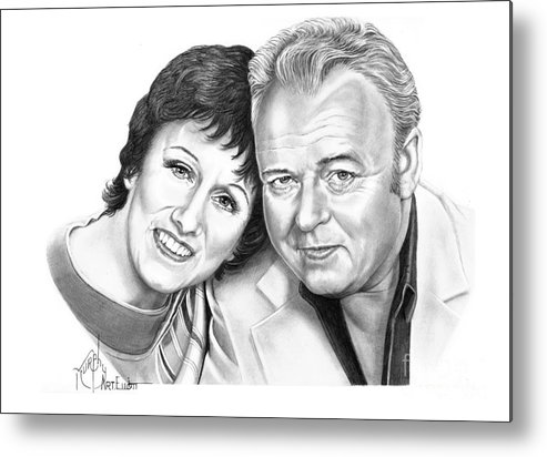Pencil Metal Print featuring the drawing Edith And Archie Bunker by Murphy Elliott