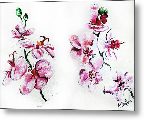 Orchid Metal Print featuring the painting Either Orchid by Amanda Sanford
