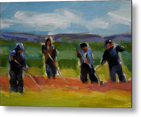 Landscape Metal Print featuring the painting Field Workers In Watsonville - Study by Merle Keller