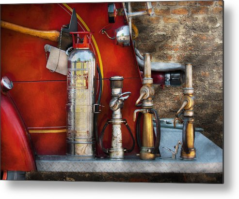 Fireman Metal Print featuring the photograph Fireman - An Assortment Of Nozzles by Mike Savad